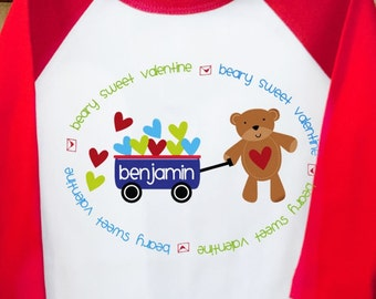 boys valentines day personalized shirt Beary Sweet Valentine raglan Tshirt- adorable for your little man