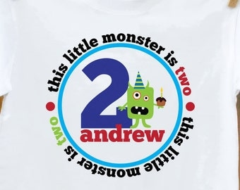 Birthday boy personalized shirt -Monster T-shirt or custom for a birthday girl monster - Perfect t-shirt for any age