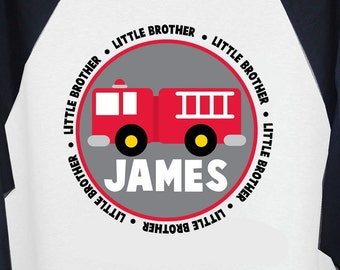 Fire truck Big or Little Brother Long Sleeve Ragaln tshirt- what a perfect shirt for the new little one