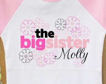 Big sister personalized flower raglan Tshirt