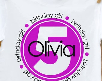 Birthday Girl Circle Personalized Tshirt perfect for birthday festivities