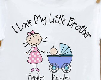 Big Sister shirt (or big brother) I Love my little brother t-shirt
