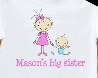 Big Sister shirt- Plain Stick Figure big sister T-shirt