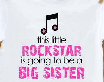 Big sister shirt-rockstar big sister to be pregnancy announcement personalized
