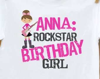 Rockstar Birthday Girl Personalized T shirt- perfect for the rockstar's birthday festivities