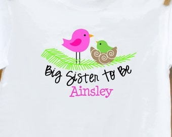 Big sister shirt- Big sister to be birdie announcement t-shirt