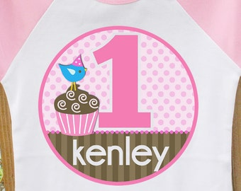 BIRTHDAY girl cupcake pink brown raglan tshirt-adorable for the birthday girl