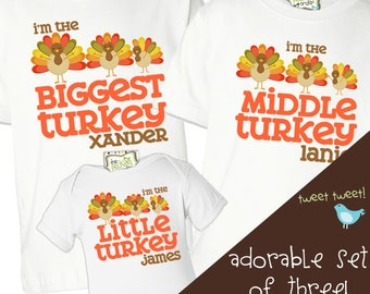 thanksgiving shirts matching big brother little brother or any big sister little sister THREE shirt sibling set perfect for turkey day
