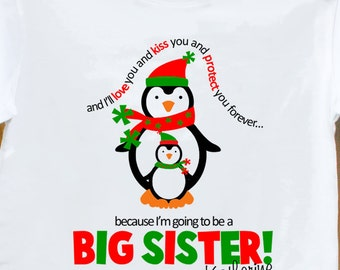 Big sister shirt Christmas pregnancy announcement - adorable penguin big sister to be t-shirt