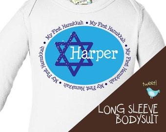 baby's first Hanukkah long sleeve bodysuit or shirt for a boy or girl adorable Hanukkah bodysuit