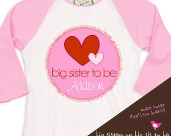Valentine's Day hearts big sister to be pregnancy announcement personalized pink/white raglan shirt