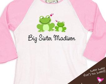 Big sister or big sister to be frog pink/white raglan shirt
