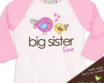 Big sister whimsical birdie pink/white raglan shirt