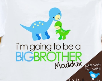 Big brother shirt- dinosaur big brother announcement t-shirt front only