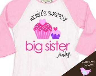 Big sister cupcake world's sweetest big sister pink/white raglan shirt
