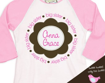 Big sister shirt - pink brown circle flower - great big sister to be pregnancy announcement  raglan shirt