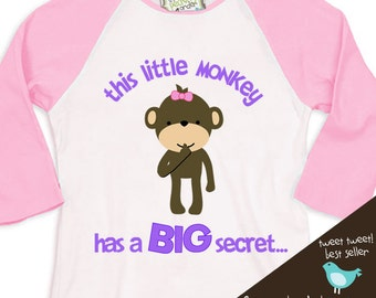 Big sister shirt - Little Monkey secret Big Sister to be pregnancy announcement  RAGLAN T-shirt