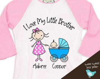 Big Sister shirt - I love my little brother big sister  RAGLAN t-shirt