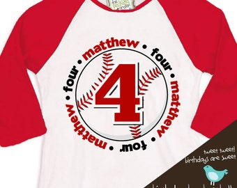 birthday boy t shirt baseball birthday party personalized birthday shirt  RAGLAN shirt