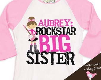 big sister shirt - personalized rockstar big sister  pink white raglan tshirt