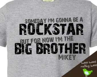 big brother shirt personalized rockstar big brother (or big brother to be) tshirt