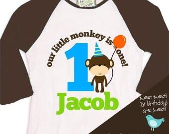 first 1st birthday monkey theme birthday party tshirt little monkey RAGLAN