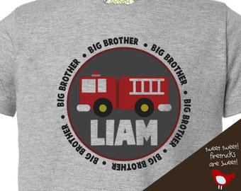 firetruck big brother t shirt - make a great pregnancy announcement shirt, too