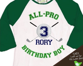 golf Birthday Boy shirt - ALL PRO golf, sports themed birthday party  raglan t-shirt