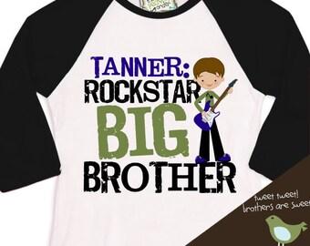 big brother rockstar personalized RAGLAN t shirt