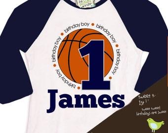 birthday boy basketball shirt - customized with birthday boys name and age and colors RAGLAN style