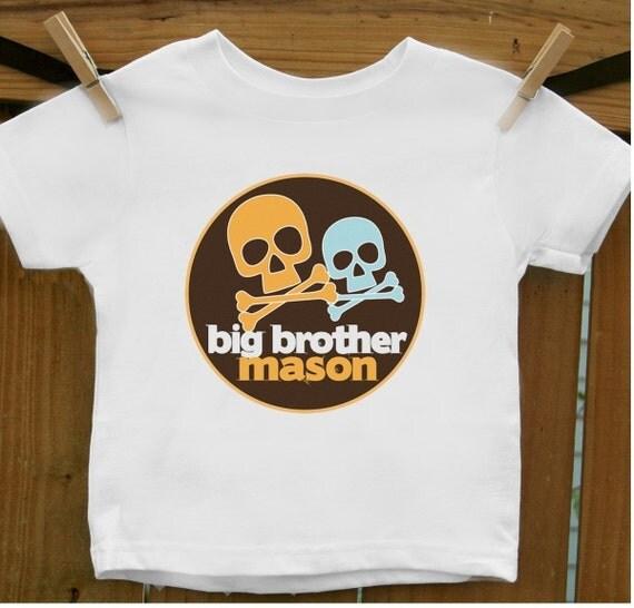 new skull cross bones cute big brother t-shirt