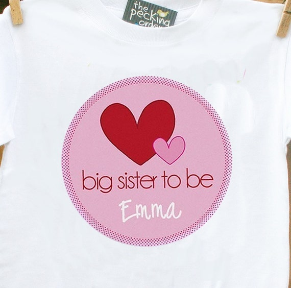 Big sister to be Valentine's Day hearts pregnancy announcement personalized t-shirt