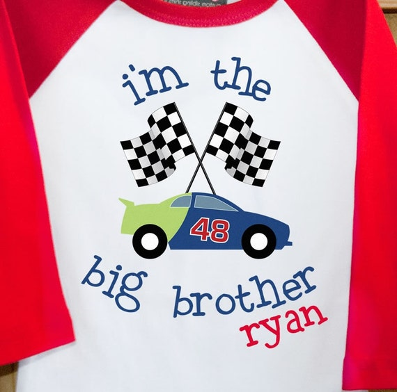 I'm the Big Brother T-shirt  raglan Race Car - such a cute pregnancy announcement