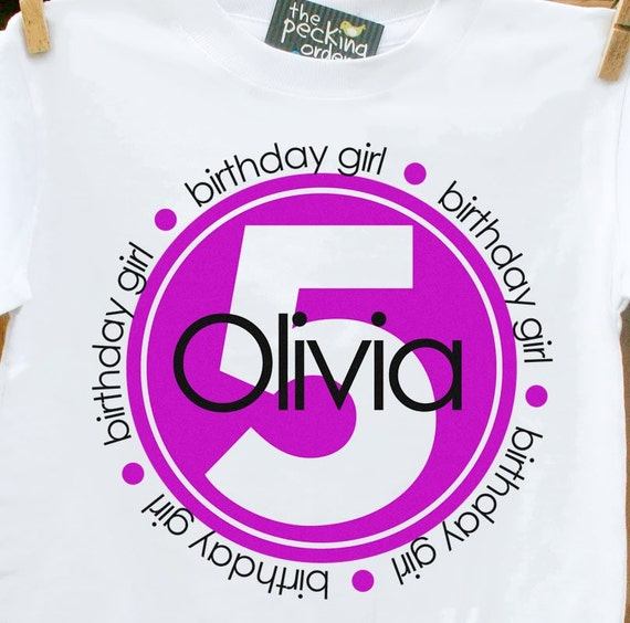 Birthday Girl Circle Personalized Tshirt perfect for birthday festivities