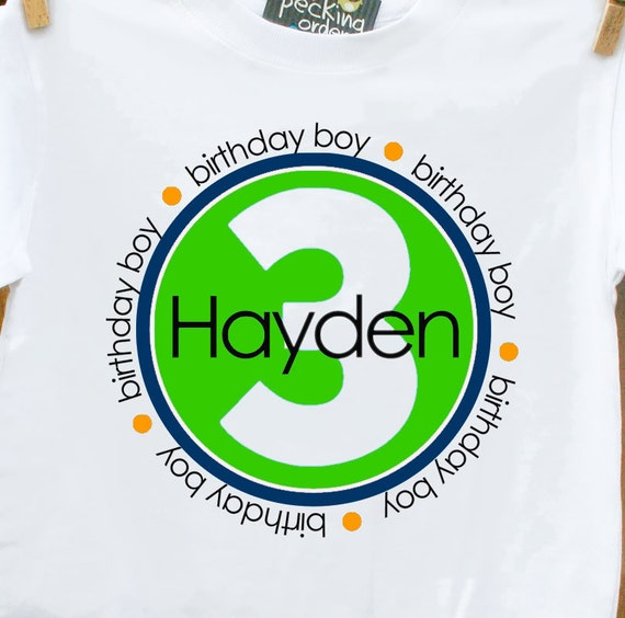 Birthday Boy Personalized Tshirt  Circle  perfect for birthday festivities - YOU PICK colors