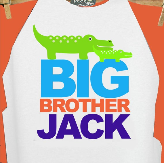 big brother shirt alligator -  raglan alligator  /  long sleeve big brother t-shirt
