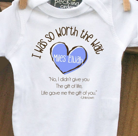 Childrens personalized bodysuit-I Was So Worth the Wait heart adoption quote bodysuit- adorable way to announce