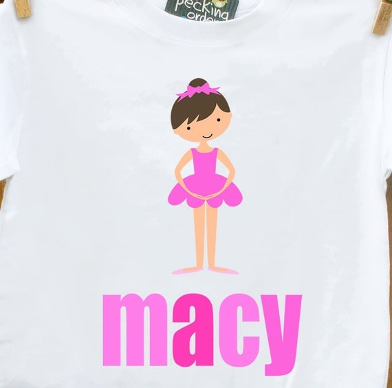childrens personalized shirt-dance girl ballerina adorably personalized t-shirt for your little dancer or ballerina