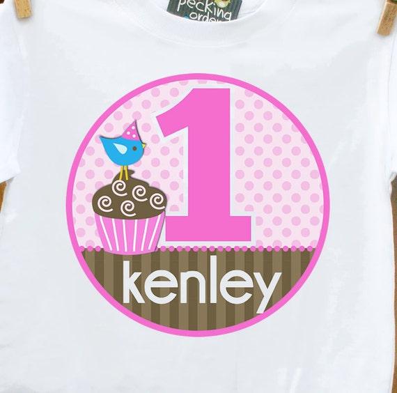 birthday girl tshirt cupcake pink and brown shirt for the birthday girl