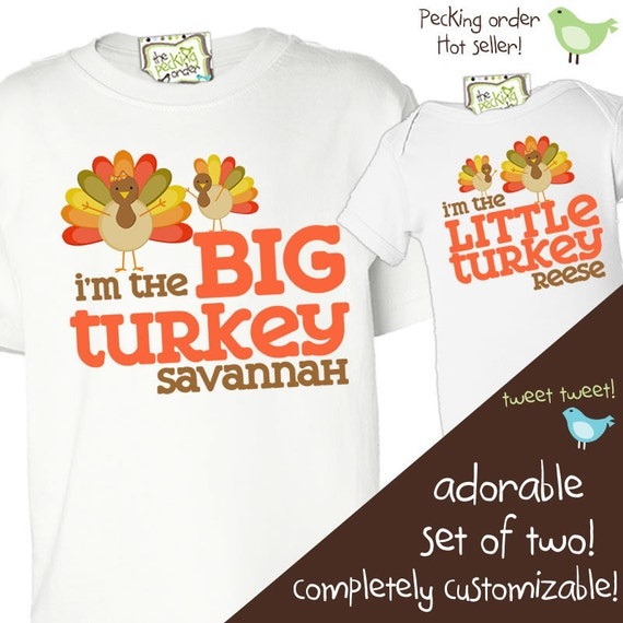 thanksgiving shirts matching for big brother little brother or any big sister little sister sibling set perfect for turkey day