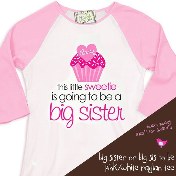 Valentine's Day cupcake big sister to be  pregnancy announcement FRONT ONLY raglan shirt