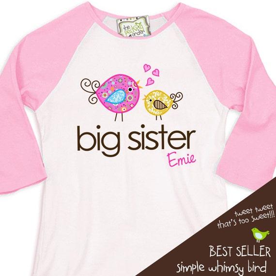 Big sister whimsical birdie pink/white raglan shirt