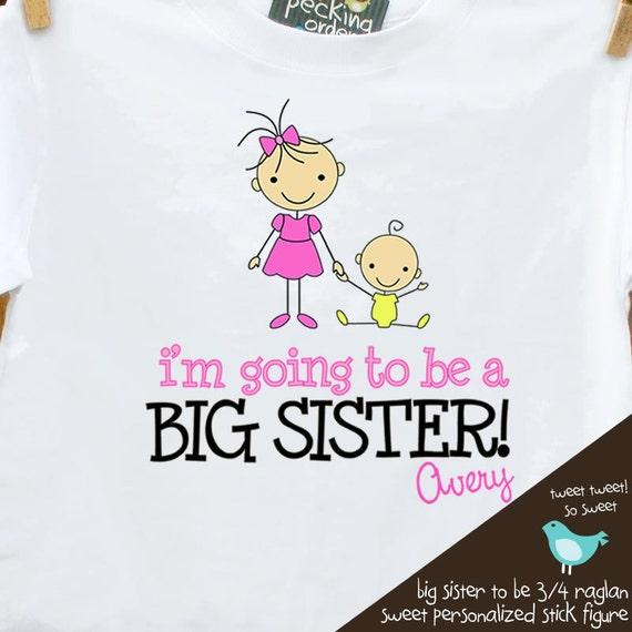 Big sister shirt- adorable big sister to be STICK FIGURE announcement PLAIN tshirt