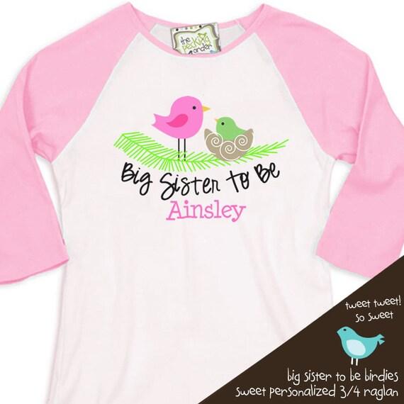 big sister tshirt pink birdies on nest  raglan pregnancy announcement shirt