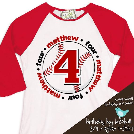 birthday boy t shirt baseball birthday party personalized birthday shirt  RAGLAN shirt
