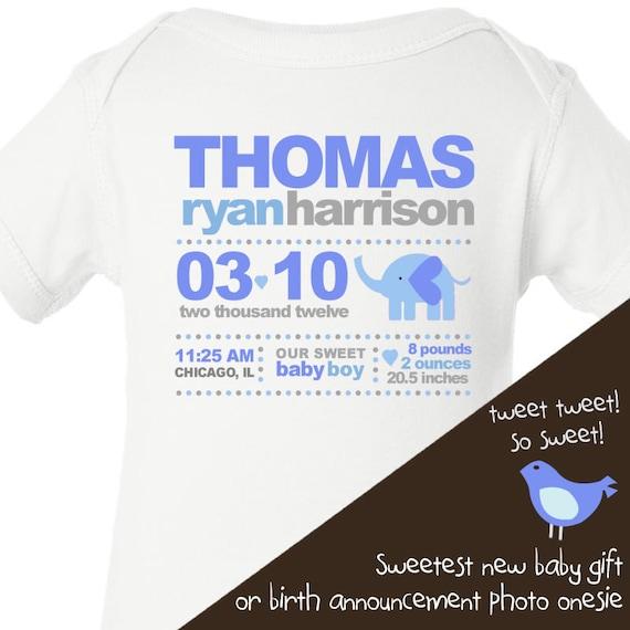 ELEPHANT boy birth announcement baby bodysuit - perfect first photos birth announcement cards bodysuit