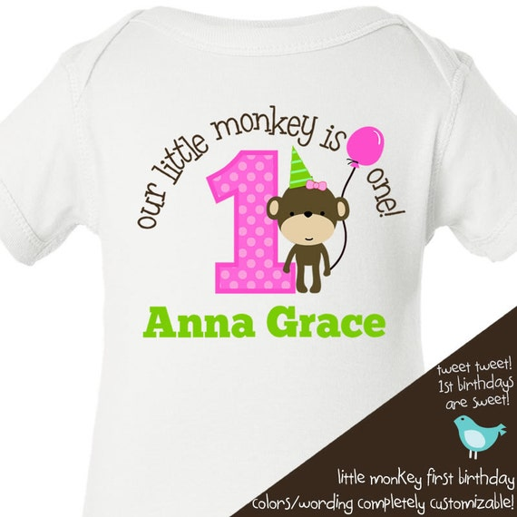 monkey first Birthday shirt -this little monkey jungle themed first birthday girl  t shirt or bodysuit