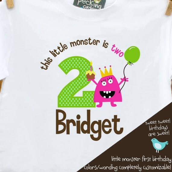 little monster first Birthday shirt -this little monster themed first birthday girl  t shirt or bodysuit
