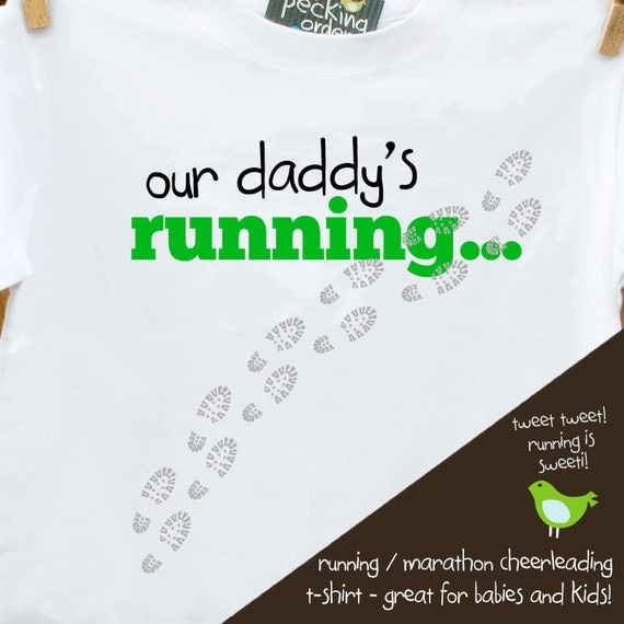 running t shirt for kids - cheer mommy and daddy to running (marathon or triathlon) victory