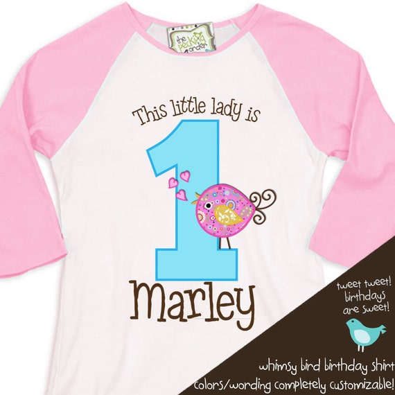 personalized birthday shirt - this little lady whimsy bird on a 3/4 RAGLAN